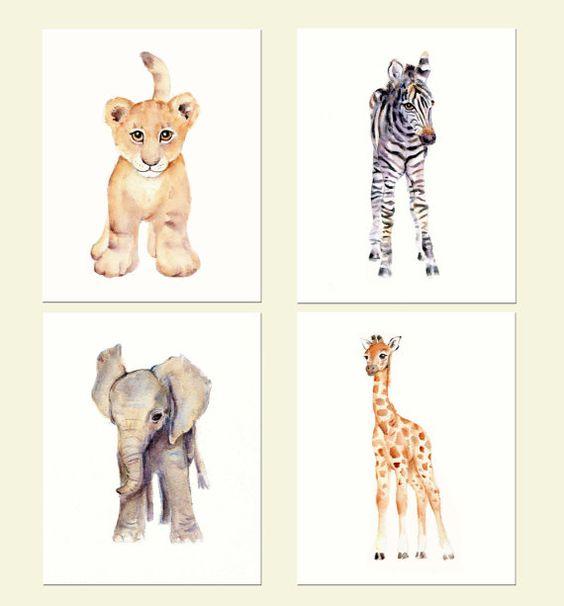 Safari Nursery Print Set- Four 8 X 10 prints- Watercolor Nursery prints, Lion, zebra, elephant and giraffe prints
