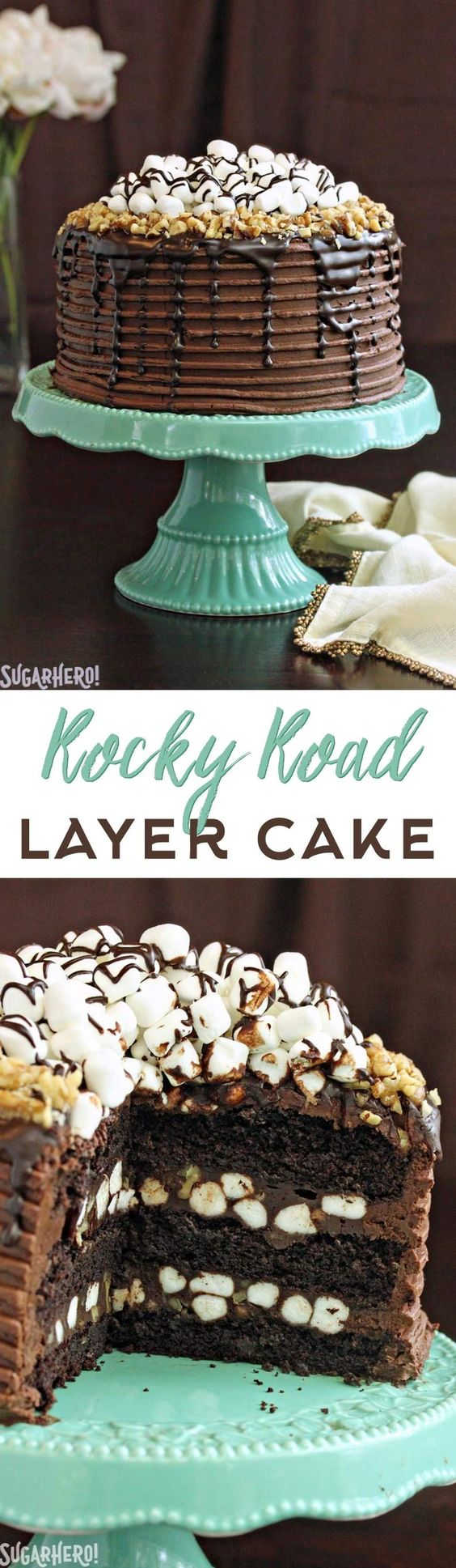 Rocky Road Layer Cake - a rich, tall layer cake loaded with marshmallows, nuts, and TONS of chocolate!   From SugarHero.com