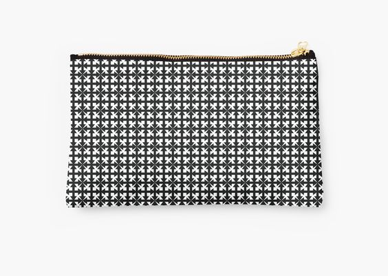 """Black and White Geometric Arrow Pattern"" Studio Pouches by pidesignprints 