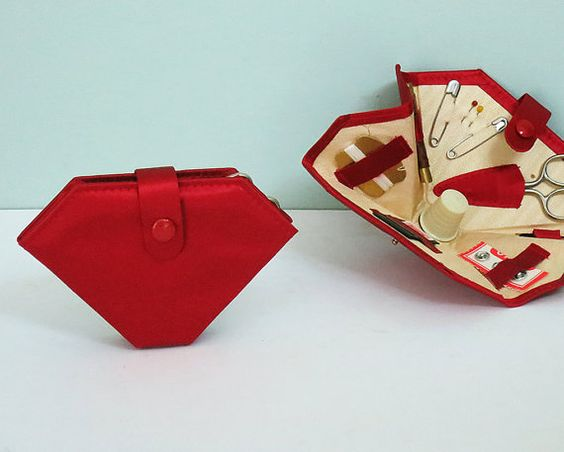 1940s Mending Kit, Party Favor, Red Satin Folding Wallet, Unused Sewing Set with Thimble, Thread, Needles, Snaps, Pins & Tiny Scissors