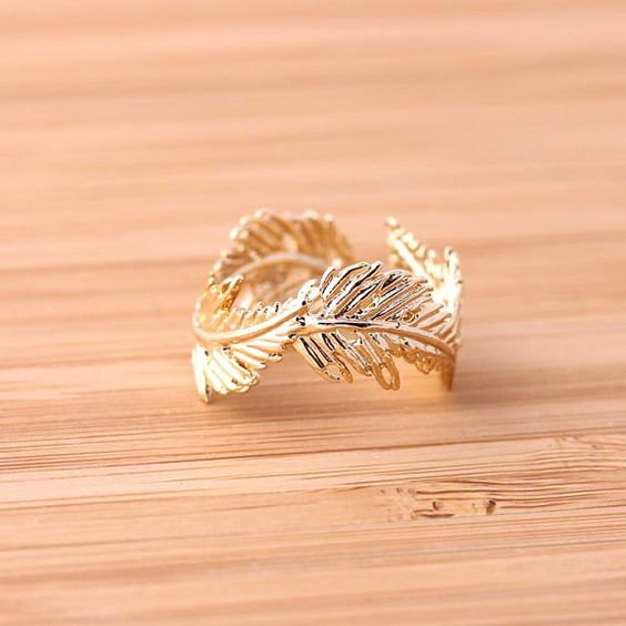 gold feather ring, adjustable