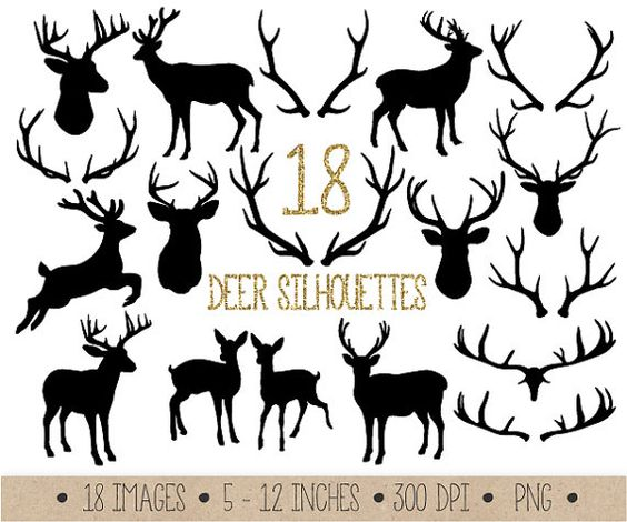 Instant download set of 18 high quality black antlers, deer, fawn, deer bust and raindeer silhouette clip art images.  These rustic deer and