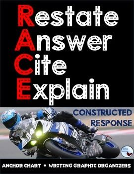 RACE Writing Short Constructed Response Anchor Charts & Differentiated Graphic Organizers Restate, Answer, Cite, Explain The RACE strategy is great for getting your students to properly respond to text based questions. Give the individual charts to students for quick reference and display the large charts on your classroom wall.