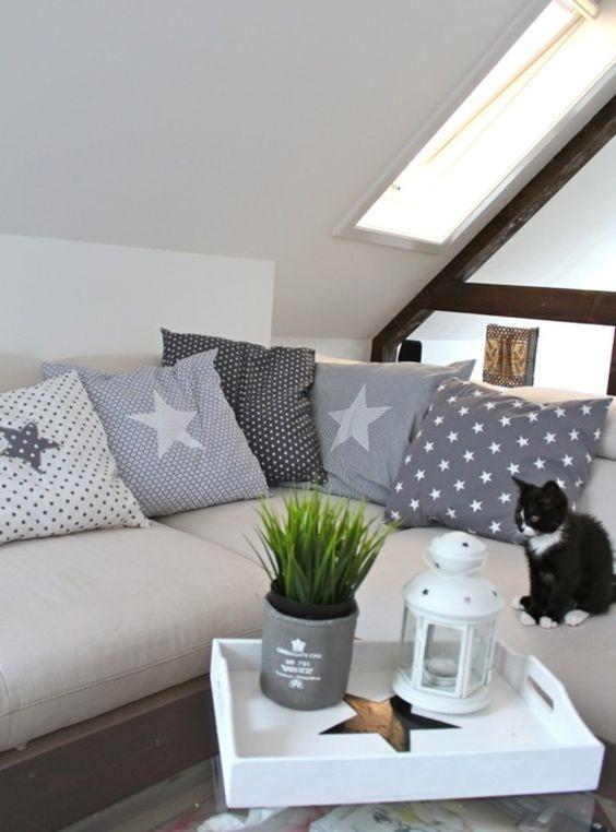 kissen mit stern kissenbezug grau sterne stars pillows and cute pillows. Black Bedroom Furniture Sets. Home Design Ideas