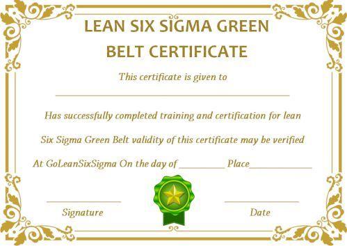 Green Belt Certificate 10 Unique And Beautiful Templates Template Sumo Green Belt Free Certificate Templates Certificate Templates