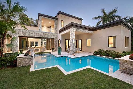 House plans modern and modern luxury on pinterest for Florida house plans with pool
