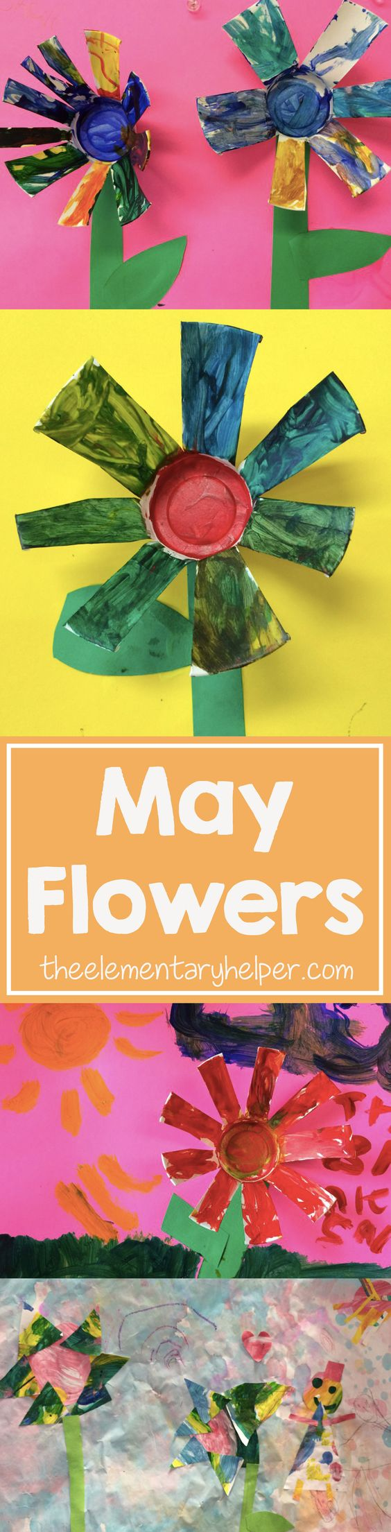 """Rachel's has definitely made the phrase """"April Showers Bring May Flowers"""" come true in her classroom this month. She's been reading books about flowers and spring & making crafts to go along. Below are a few of her favorite flower crafts. From theelementaryhelper.com"""