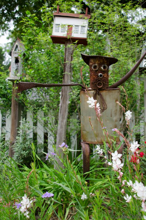 Gertrude Recycled Metal Garden Girl  Yard Ornament