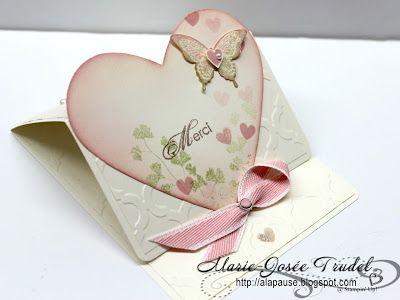 A La Pause: Visite à Anik - Carte d'Amour, Marie-Josée Trudel, Stampin'Up!, Papaya Collage, Bonté Epanouie, Blooming with Kindness, Framelits coeurs, hearts