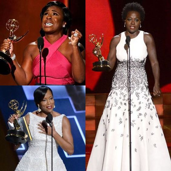"""The only thing that separates women of color from anyone else is opportunity."" -Viola Davis  Congratulations to all of the talented Emmy winners last night, especially @violadavis @uzoaduba and @iamreginaking!"