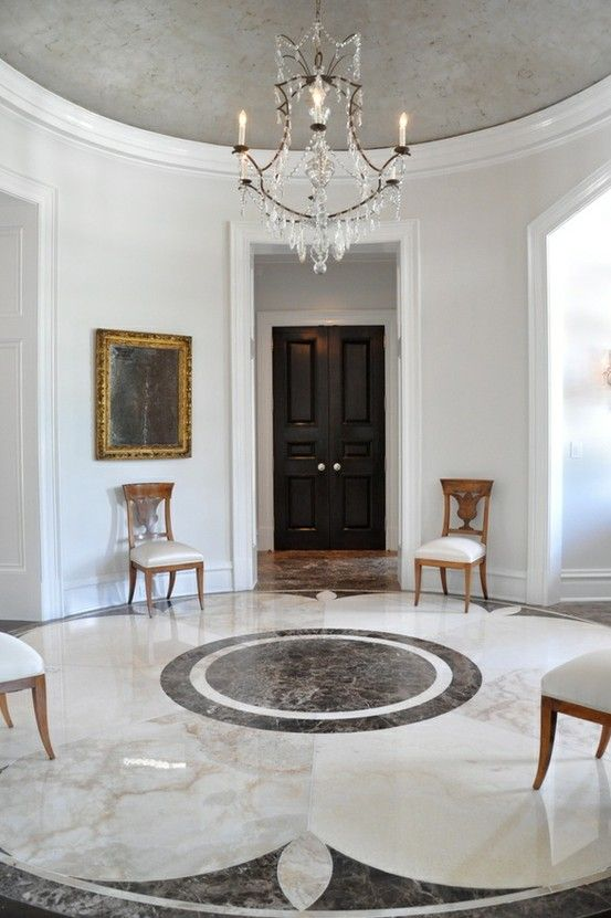 Classic Elegance Round Hall With Pattern Marble Floor And