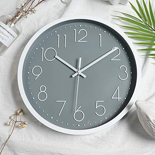 Justup 12in Non Ticking Wall Clock Silent Battery Operated Wall Clock With Abs Frame Hd Glas In 2020 Wall Clock Clock Kids Living Rooms