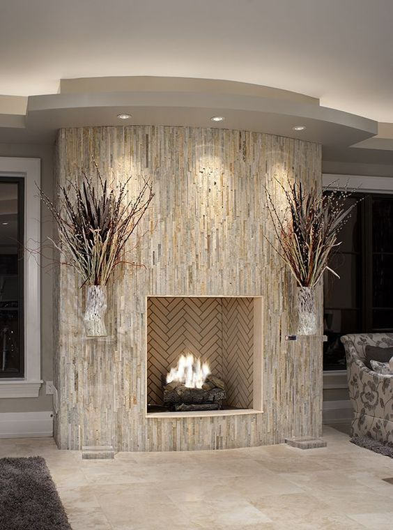 fireplace wrapped in vertical stone it 39 s nearly like what i want to do imagine dark gray. Black Bedroom Furniture Sets. Home Design Ideas