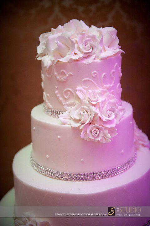 White on White Floral Wedding Cake