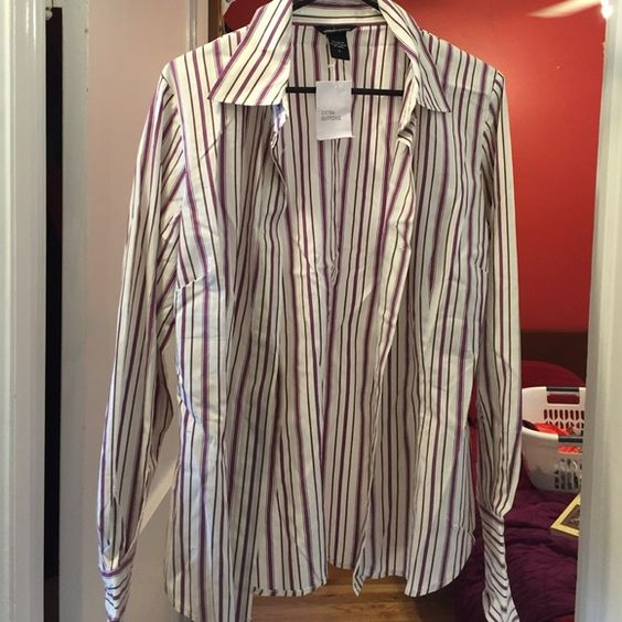 NWT Striped blouse Long sleeve purple strip blouse from Victoria's Secret. Never been worn Moda International Tops Button Down Shirts