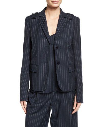 TIBI Delmont Pinstripe Two-Button Blazer. #tibi #cloth #