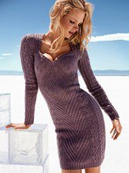 sweater dress with sweetheart neckline