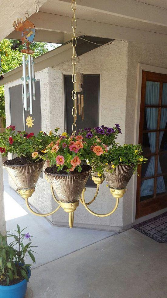 Repurpose Old Chandeliers Into Stunning DIY Chandelier Planters | 9 Ideas | Balcony Garden Web
