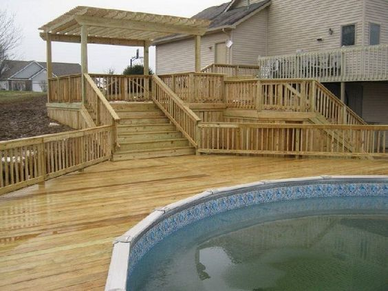 Multi level above ground pool deck plans but in my case for Multi level deck above ground pool