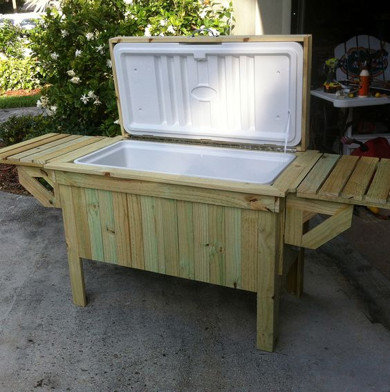 Diy patio table with cooler plans build a patio table for Build patio table with cooler