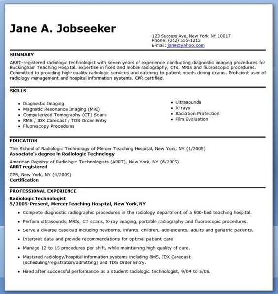 sample resume for radiographer creative resume design templates word  pinterest sample resume radiology and rad tech