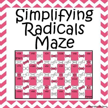 Simplifying radicals, Maze and Products on Pinterest
