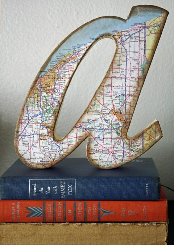 Original blog post on my DIY Map Paper Covered Letter Project