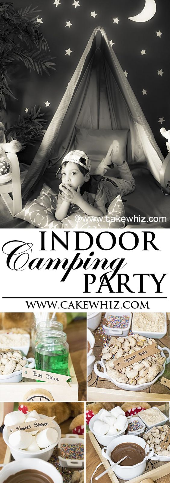 Throw a fun INDOOR CAMPING PARTY for kids when it's too cold to go out camping in the woods. Great activity for Summer time or even boys birthdays. {Ad} From cakewhiz.com #drumstickcone