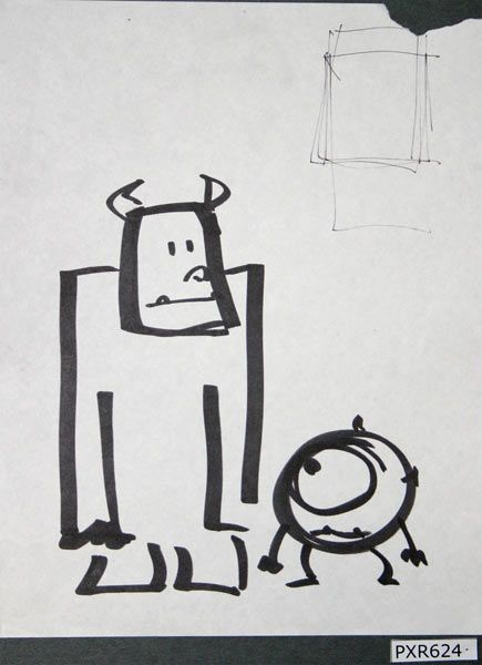 Sulley and Wazowski: an initial sketch from the Monsters & Co. animated film by Pixar Animation Studios.