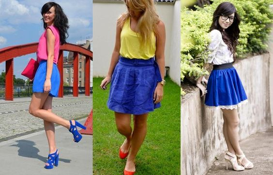 Saias azul bic gode feminina e blusas brancas -