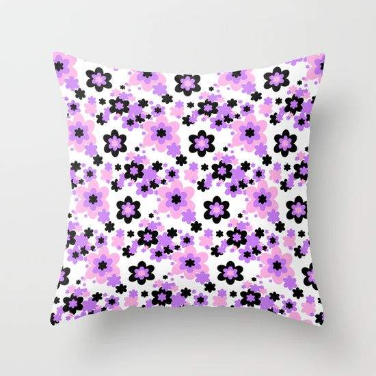 Pink Purple Black Floral Throw Pillow Duvet covers, Throw pillows and Products