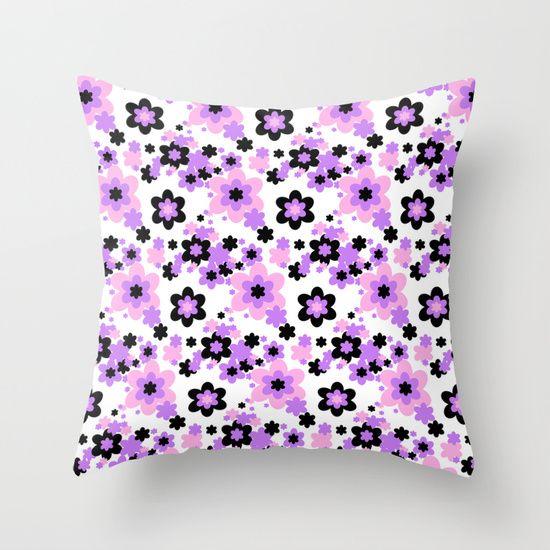Throw Pillows Moroccan : Pink Purple Black Floral Throw Pillow Duvet covers, Throw pillows and Products