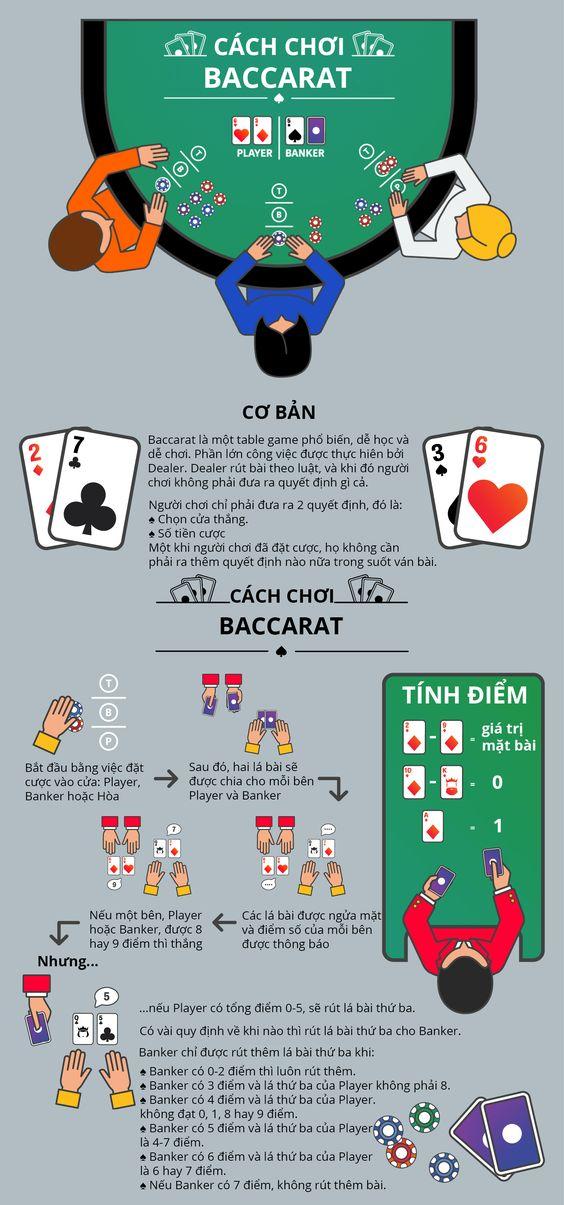 Infographic cách chơi Baccarat