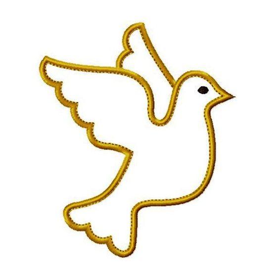 Dove Of Peace Appliques Machine Embroidery Design Applique Pattern In 4 Sizes 4 5 6 And 7 Paloma De La Paz Dibujos De Primera Comunion Patrones