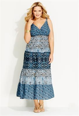 Blue Tiered Maxi Dress  Plus Size Dress Clearance  Avenue only ...