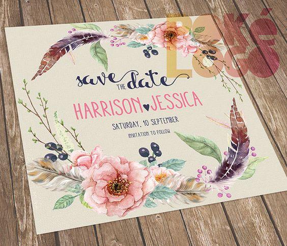 Guardar la fecha boda Boho boda Bohemia imprimibles por PokeLogo