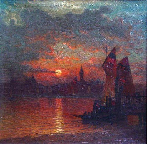 John Joseph Enneking (USA, 1841-1916) - Venice, Italy, at Sunset, 1875
