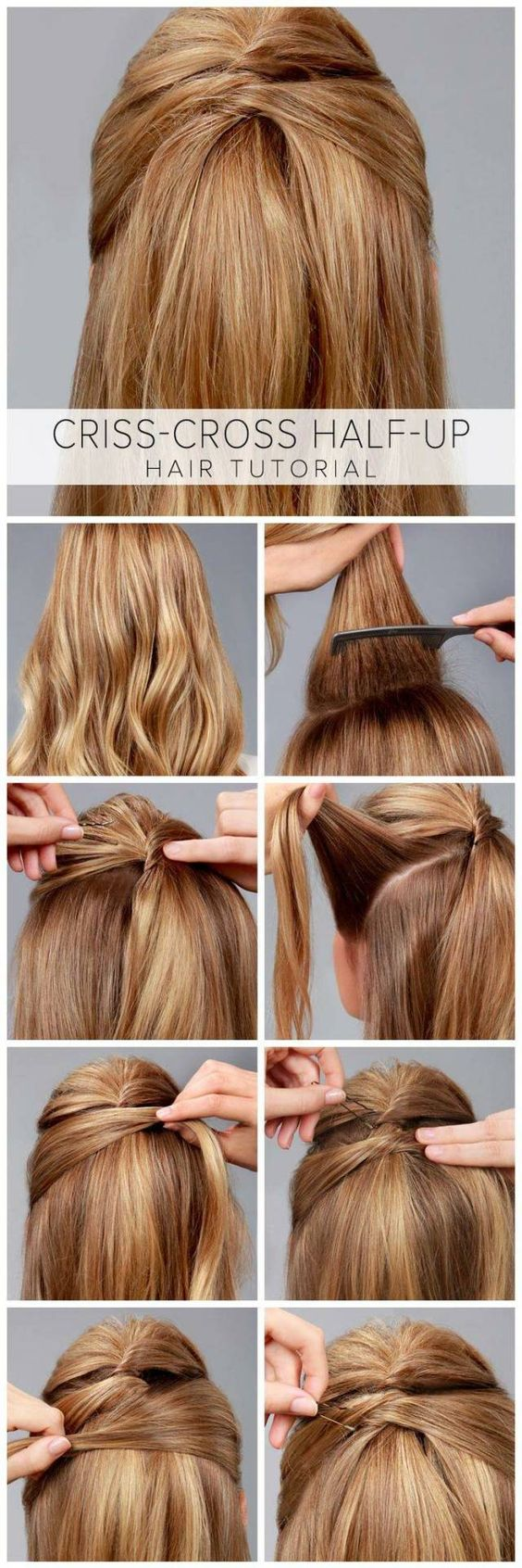 Criss cross half-up hairstyle - Visit www.pinterest.com/rawritzmavesa/hairstyles/ for more amazing hairstyles and tutorials! :D
