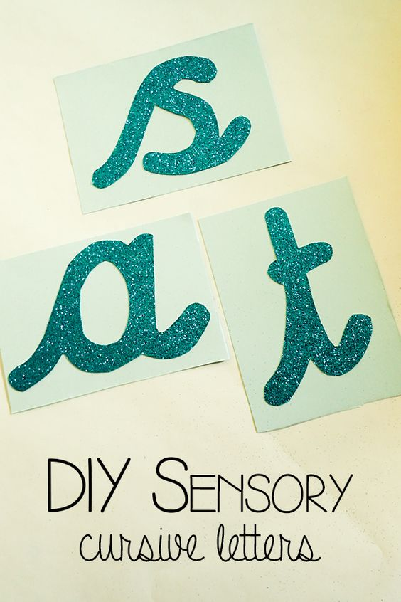 DIY sensory cursive letters - help your children with tactile memory and work on letter formation with this step by step guide including a FREE printable of the cursive alphabet to make your own Sensory Letters