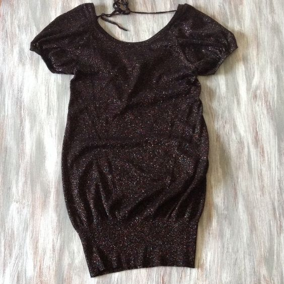 FCUK Black Metallic knit Mini Dress Gorgeous French Connection black multicolor glitter dress with a scoop cowl back. Can be worn as a mini dress or a tunic with leggings. In perfect condition French Connection Dresses