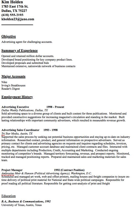 Advertising Agent Resume Sample -   resumesdesign - airline pilot resume sample