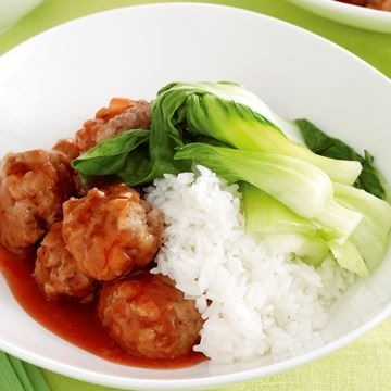 Sticky plum meatballs with rice