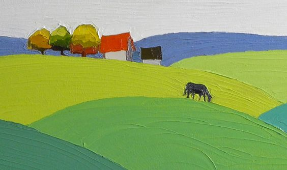 The Moving Fields 8x24 Landscape Painting Oil by DonnaWalker