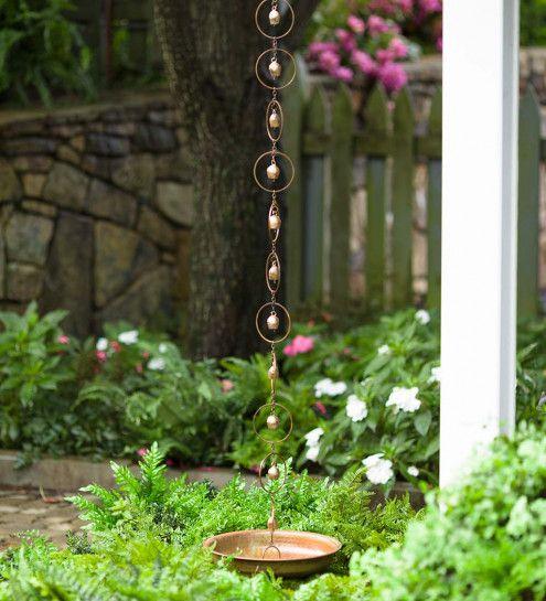 Bell Rain Chain Receptacle Vivaterra Rain Chain Decorative Downspouts Backyard Decor