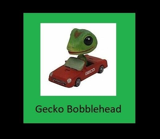 Officially Licensed GEICO Gecko Bobblehead in his Red Car NEW IN BOX bobble head