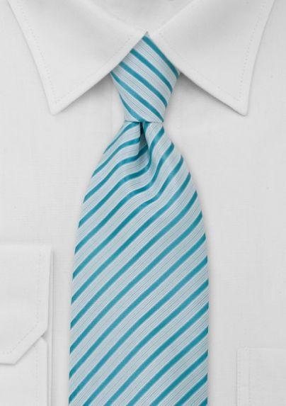 Striped Tie in White Aquamarine