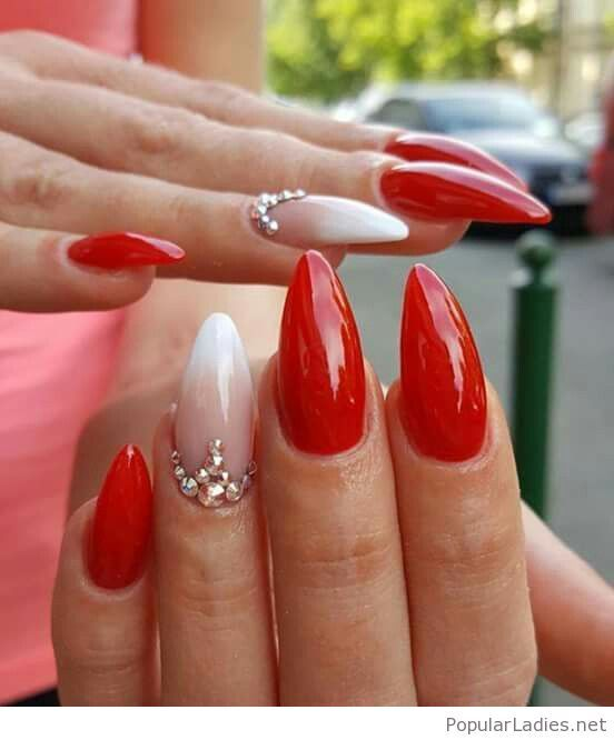 Glam red and white manicure