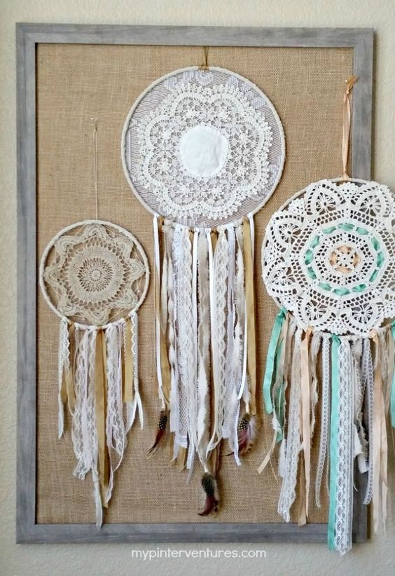 DIY Vintage Doily Bohemian Dream Catcher Craft Tutorial from My Pinterventures: