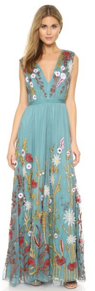 Alice + Olivia Embroidered Maxi