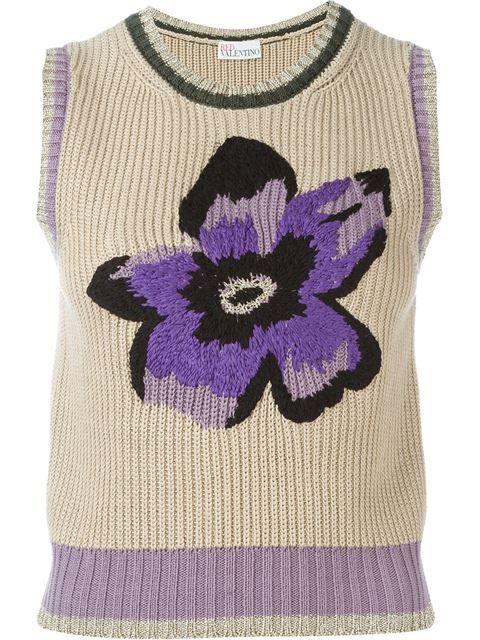 Knitting Intarsia : Red valentino flower intarsia knit top vitkac farfetch